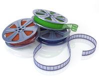 Cinema film reels. On white (3d render Royalty Free Stock Images