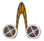 Cinema film roll. In brown colour with two wheel in isolate background stock illustration
