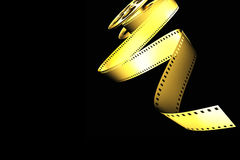 Cinema film roll. Golden classic cinema film roll Royalty Free Stock Images