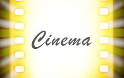 Cinema film strips with countdown and projector light rays. A cinema film strip with countdown and projector light rays Stock Images
