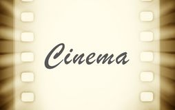Cinema film strips with and projector light rays. Stock Photos