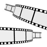 Cinema Film Strip. Set of two blank cinema film strip frames with different shape curve and empty space for your movie photograph and picture. EPS 10 Royalty Free Stock Images
