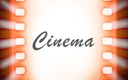 Cinema film strips with and projector light rays. Stock Photography