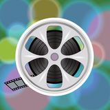 Cinema film tape on disc. Colorful illustration with cinema film tape on disc for your design Stock Photo