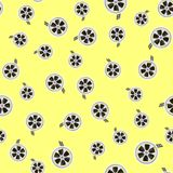 Cinema Film Tape Seamless Pattern. On Yellow Background Stock Image