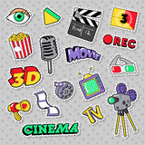 Cinema Film Television Patches, Badges and Stickers with Camera, TV, Tape. Vector Doodle Royalty Free Stock Photography