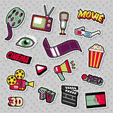 Cinema Film Television Patches, Badges, Stickers set with Camera, TV, Tape. Vector Doodle Royalty Free Stock Photo