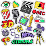 Cinema Film Television Patches, Badges, Stickers. Set with Camera, TV, Tape. Vector Doodle in Comic Style Royalty Free Stock Photography