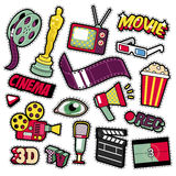 Cinema Film Television Patches, Badges, Stickers. Set with Camera, TV, Tape. Vector Doodle in Comic Style Stock Photos