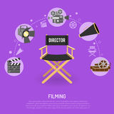 Cinema and filming concept. With flat icons film reel, director chair, bullhorn, clapperboard,  vector illustration Stock Images