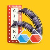Cinema with filmstrip and 3d glasses design. Vector illustration Stock Photography