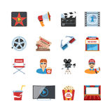 Cinema Flat Design Icons Stock Images