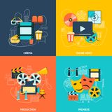 Cinema flat icons composition Stock Image