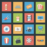 Cinema flat icons set Royalty Free Stock Photos