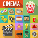 Cinema Flat Icons Set. Cinema and Movie Flat Icons Set with Long Shadows like popcorn, award, clapperboard, tickets.  vector illustration Royalty Free Stock Photos