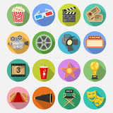Cinema Flat Icons Set. Cinema and Movie Flat Icons Set with popcorn, award, clapperboard, tickets on colored circles with Long Shadows. Isolated vector Royalty Free Stock Photo