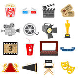 Cinema Flat Icons Set. Cinema and Movie Flat Icons Set with popcorn, award, clapperboard, tickets. Isolated vector illustration Stock Photo