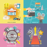 Cinema 4 flat icons square composition. Historical cinema festival movie theater entrance tickets set 4 flat icons square composition abstract isolated vector Royalty Free Stock Photography