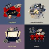 Cinema Flat Set. Cinema design concept set with cinematography movie premiere flat icons isolated vector illustration Stock Image