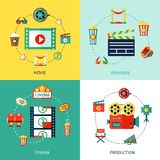 Cinema Flat Set. Cinema production flat design concepts set with movie premiere  icons isolated vector illustration Royalty Free Stock Images
