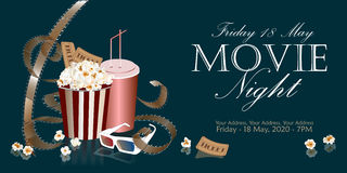Cinema flyer with movie symbols. Popcorn box with film reel, cola and 3D glasses on the background screen cinema. Movie poster, banner, or flyer. Vector Stock Photo