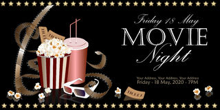 Cinema flyer with movie symbols. Popcorn box with film reel, cola and 3D glasses on the background screen cinema. Movie poster, banner, or flyer. Vector Stock Photos
