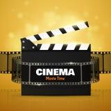 Cinema Flyer Or Poster. Vector Illustration. Film festival template. Cinema Flyer Or Poster With Movie Reel And Clapper Board. Vector Illustration Of Film Stock Image