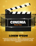 Cinema Flyer Or Poster. Vector Illustration. Film festival template. Cinema Flyer Or Poster With Movie Reel And Clapper Board. Vector Illustration Of Film Stock Photo