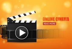 Cinema Flyer Or Poster. Vector Illustration. Film festival template. Cinema Flyer Or Poster With Movie Reel And Clapper Board. Vector Illustration Of Film Stock Photo