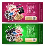 Cinema flyers with gift coupon. Gold free. Cinema flyers, banners with gift coupons. Free gold tickets with discount. Elements of cinematography and motion Stock Photos