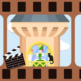 Cinema frame with green witch and black cat on the balcony of a medieval tower. Flat vector illustration Royalty Free Stock Images