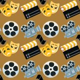 Cinema genre cinematography seamless pattern background flat entertainment movie production vector illustration. Film motion picture cine movies premiere Royalty Free Stock Photography