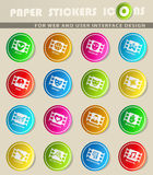 Cinema genre icon set. Cinema genre icons on color paper stickers for your design Stock Photography