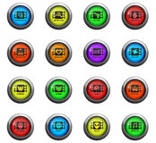Cinema genre icon set. Cinema genre icons on color round glass buttons for your design Stock Photos