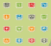 Cinema genre icon set. Cinema genre web icons on color paper stickers for user interface Stock Photography