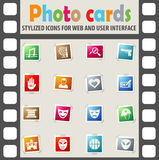 Cinema genre icon set. Cinema genre web icons on color photo cards for user interface Stock Photos
