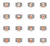 Cinema genre icon set Stock Image