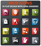 Cinema genres icon set. Cinema genres icons set in flat design with long shadow Royalty Free Stock Images