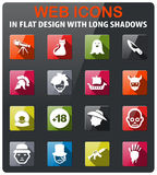 Cinema genres icon set. Cinema genres icons set in flat design with long shadow Stock Image