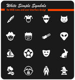 Cinema genres icon set. Cinema genres  icons for user interface design Royalty Free Stock Photos