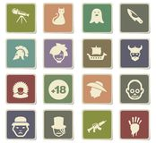 Cinema genres icon set Stock Image
