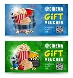 Cinema Gift Voucher. S designs with popcorn and other elements on a movie theme on a blue and green bokeh background. Vector illustration stock illustration