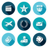 Cinema and Glory Icons Set. Vector Illustration. Clapboard, walk of fame, fans, private jet, fame, autograph, money, television car, house. Isolated Flat Icons stock illustration