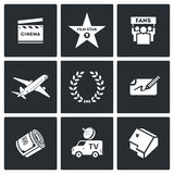 Cinema and Glory icons. Vector Illustration Royalty Free Stock Photo