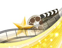 Cinema golden border background with retro filmstrip, clapper and star. Vector illustration Stock Images