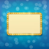 Cinema golden frame with light bulbs on  blue background Stock Image