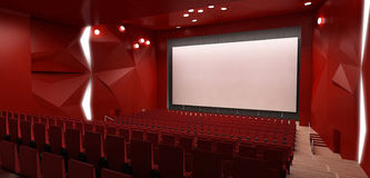 Cinema hall, 3d render. 3d Render of a cinema hall stock illustration