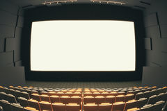 Cinema hall through fish eye. Cinema hall interior with rows of seats, patterned walls, ceiling with lamps and blank white screen. Fish eye lens. Mock up, 3D Royalty Free Stock Photos