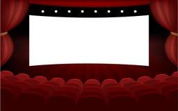 Cinema hall mockup. Concept of cinema hall with big white screen vector illustration