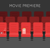 Cinema hall Red Cinema chairs. Vector illustration. Movie theater armchair Royalty Free Stock Image